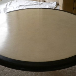 Faux graining to table surround, centre, parchment effect