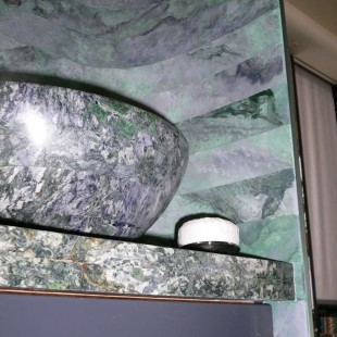 Marbled wall to match basin