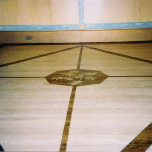 Three color combination wood stain floor